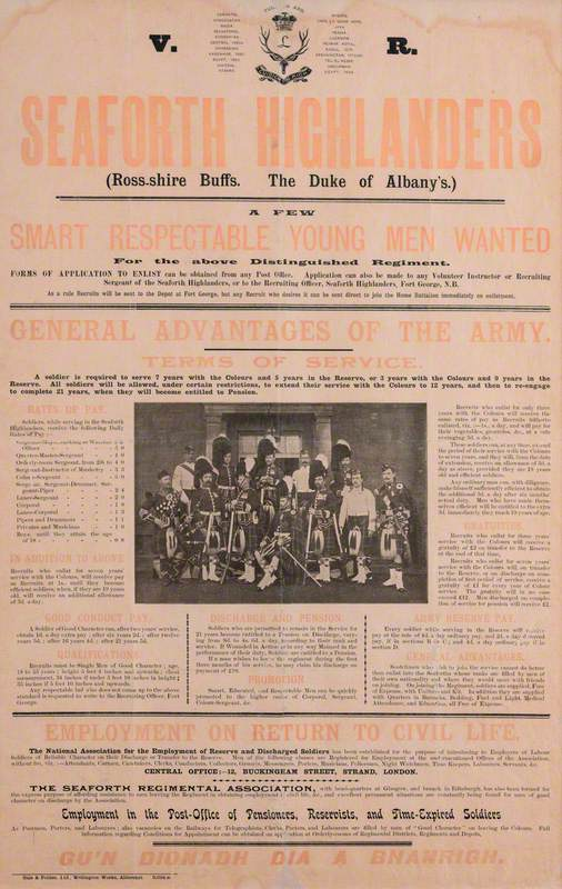 Recruiting Poster: Seaforth Highlanders, Ross-Shire Buffs, The Duke of Albany's