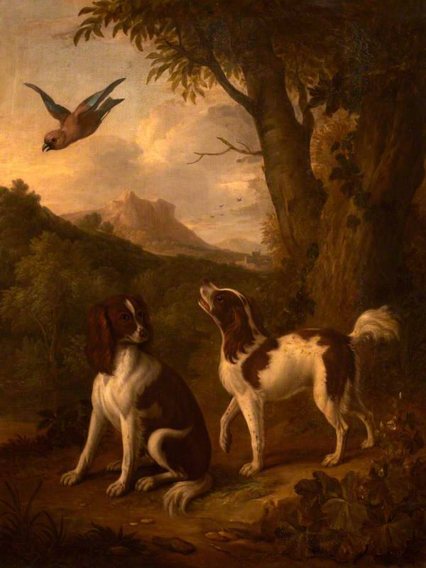 Two Spaniels and a Jay in a Landscape