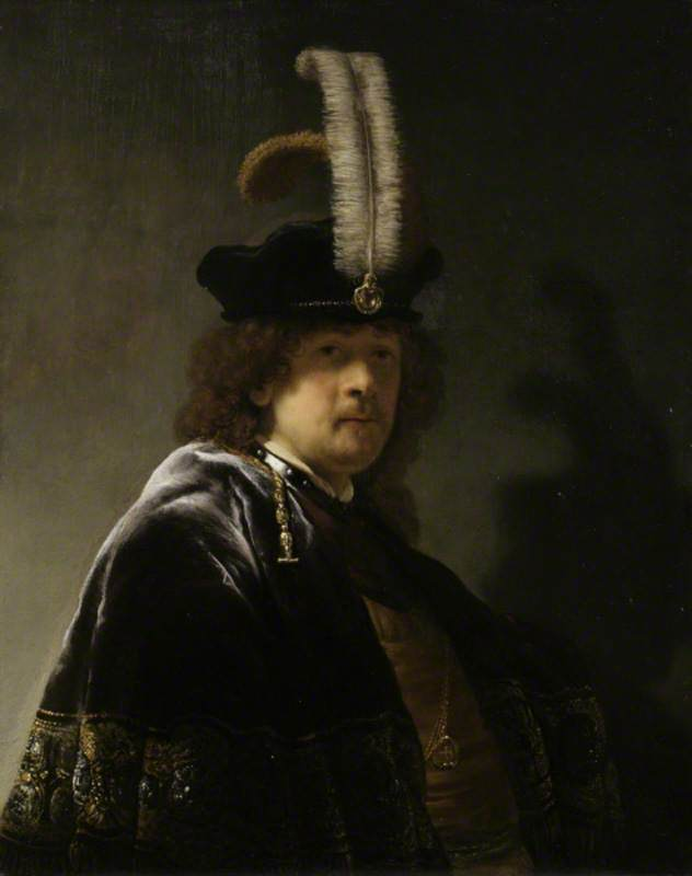 Self Portrait, Wearing a White Feathered Bonnet