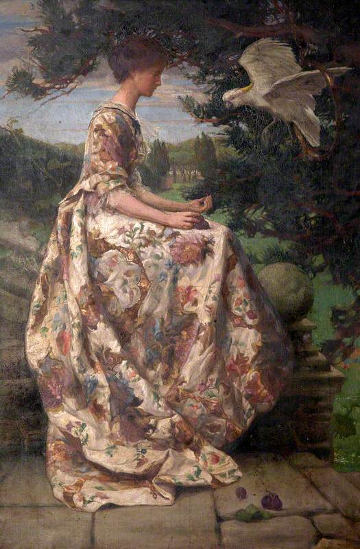 Young Woman on a Terrace Giving Grapes to a Cockatoo (Mrs Phyllis Woolner, b.1875)