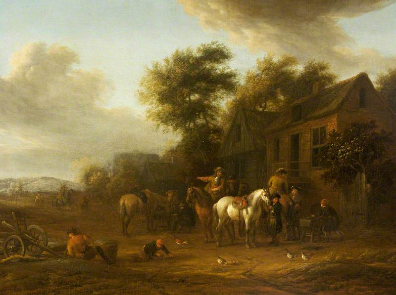 Horsemen Outside a Cottage