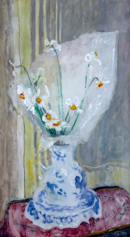 Pheasant's Eye Narcissus in a Blue and White Vase