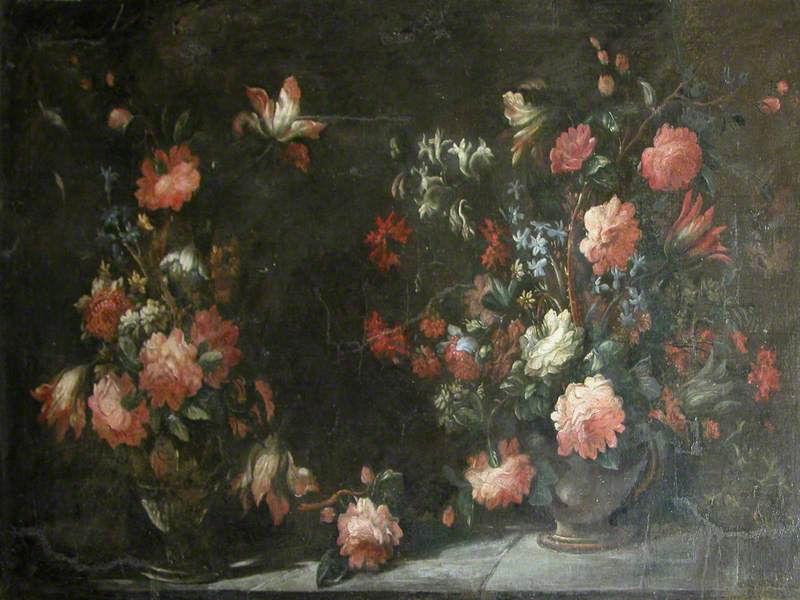 Still Life of Two Jugs with Flowers and Insects