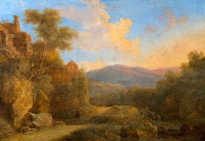A Rocky Wooded Landscape with a Figure on a Path