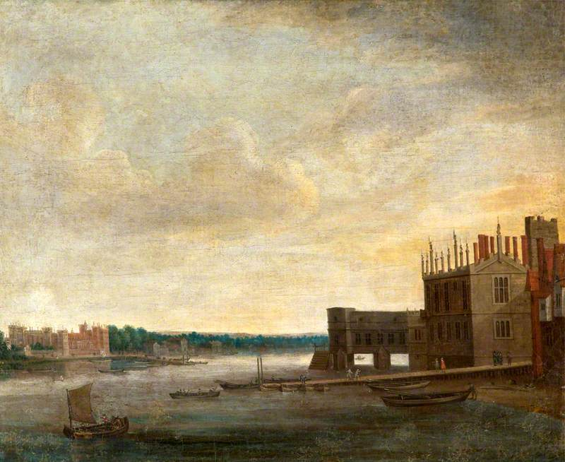 View of the Thames with the Old Palace of Whitehall Looking towards Lambeth, London