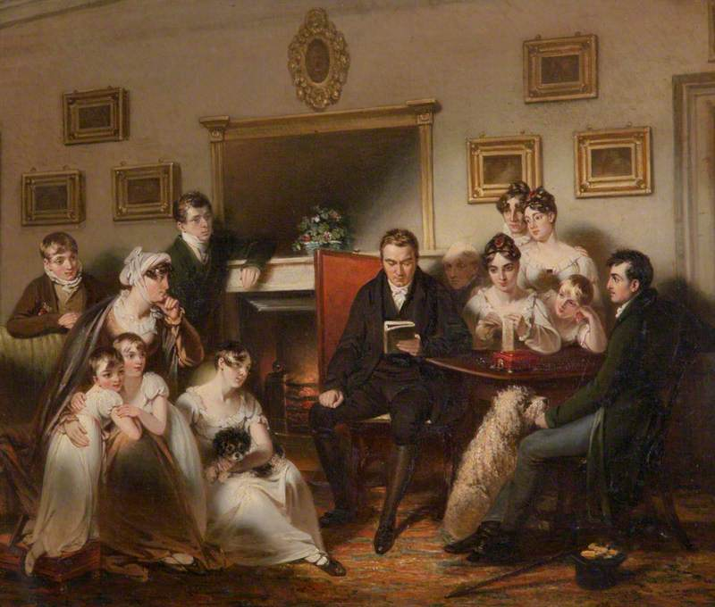 The Pastor's Fireside: The family of Sir Thomas Acland, 10th Bt, Being Read to by the Vicar of Silverton