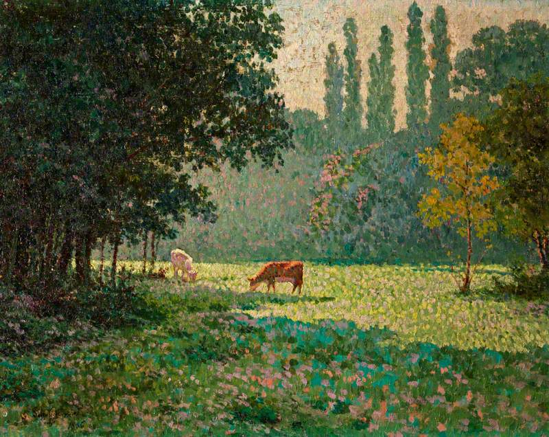 A Meadow with Two Cows