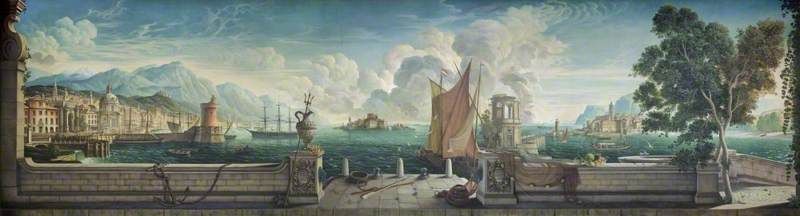 Dining Room Mural: Capriccio of a Mediterranean Seaport, with British and Italian Buildings, the Mountains of Snowdonia, and a Self Portrait Wielding a Broom
