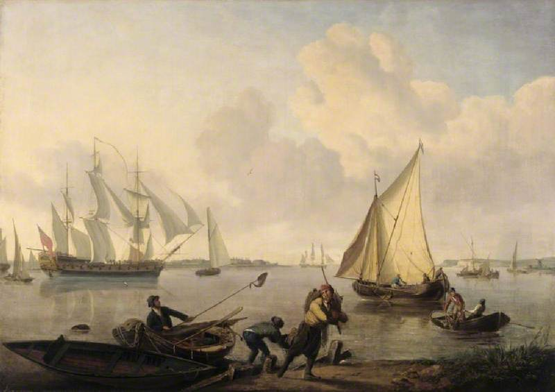 Men-of-War and Other Shipping in a Calm
