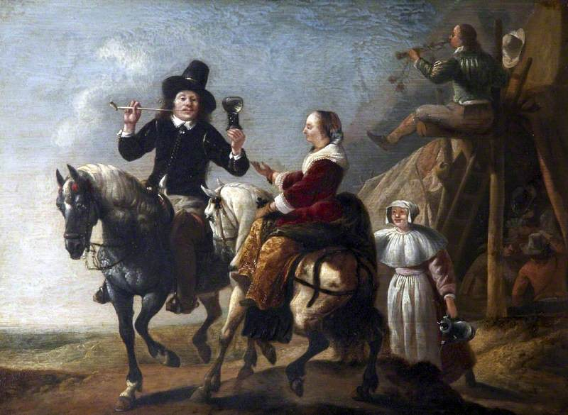 A Couple on Horseback next to a Bivouac ('Albert Cuyp and His Wife')