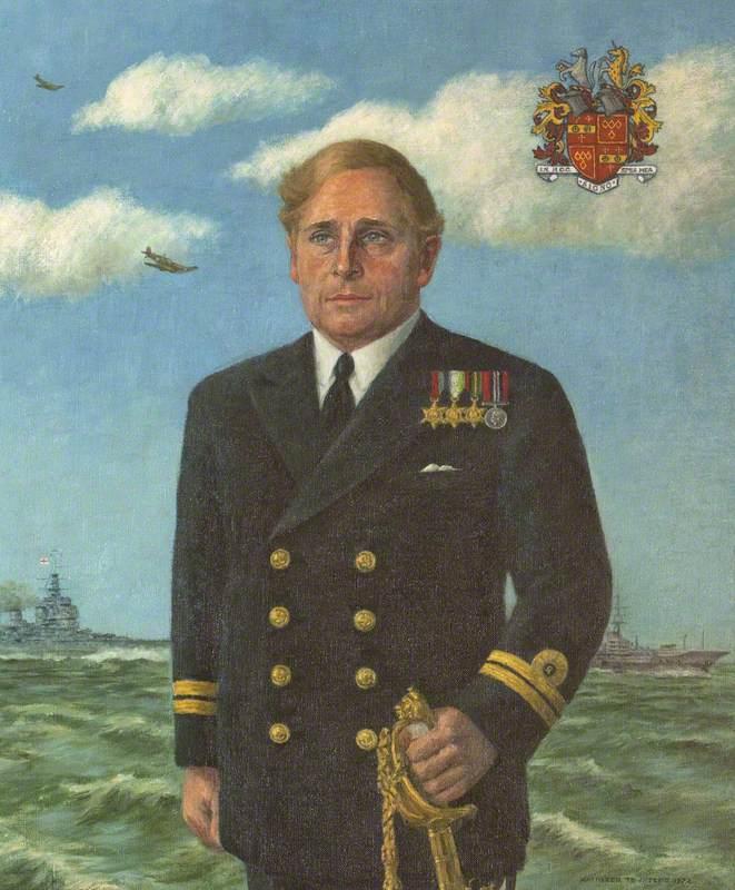 Lieutenant Thomas Weaving Ferrers-Walker, RN, Standing before H.M. Ships at Sea
