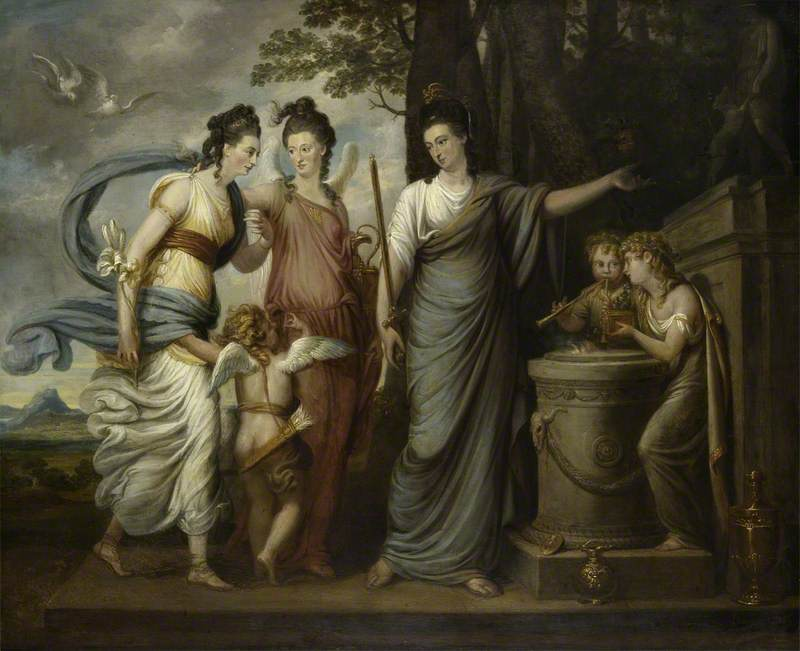 Allegorical Scene with Juliana, Countess of Carrick (1727/8–1804), as Wisdom Directing Her Younger Daughters, Lady Henrietta Butler (1750–1785), Later Viscountess Mountgarret, and Lady Margaret Butler/Lowry-Corry (1748–1775), as Beauty and Virtue, to the Altar of Diana