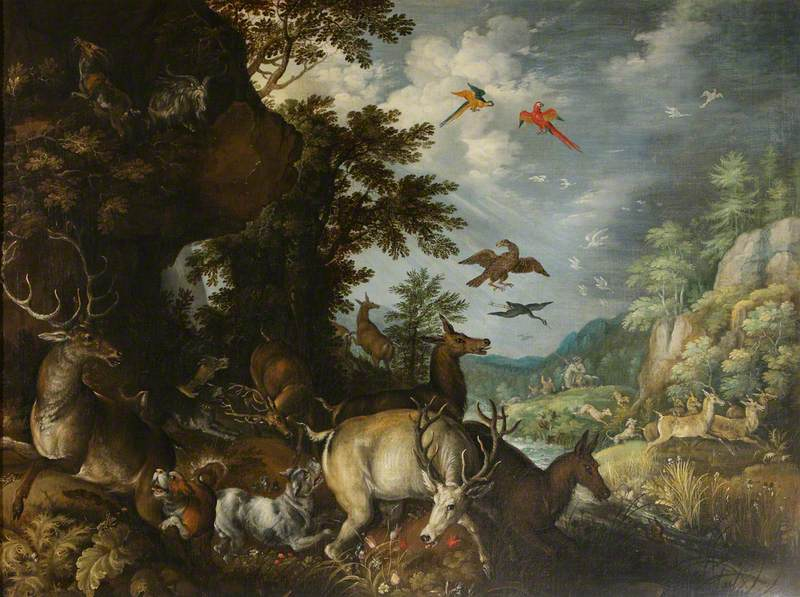 Rocky Landscape with Mastiffs Attacking Stags, and Hinds Fleeing Hunters