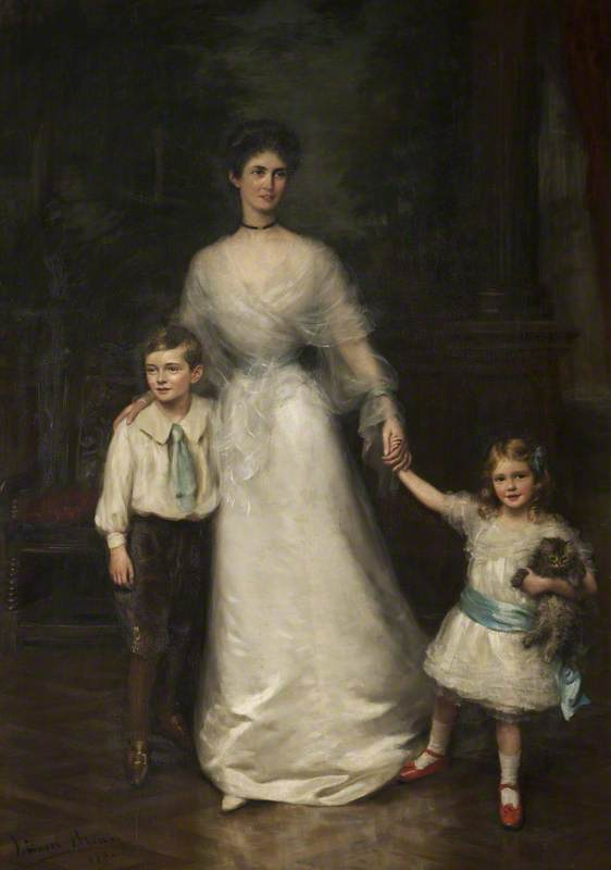 Elizabeth Louisa Penelope Theobald (d.1959), Countess of Stamford, and Her Two Children, Roger Grey (1896–1976), Later 10th Earl of Stamford, and Lady Jane Grey (1899–1991), Later Lady Jane Turnbull