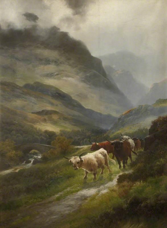 Cattle Walking Along a Mountain Path