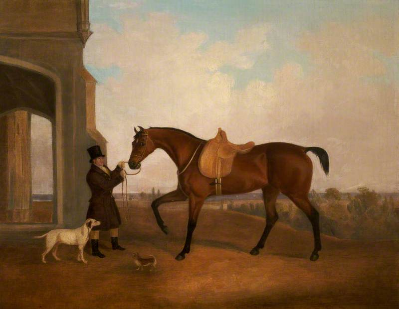 A Horse and Groom outside a Porch