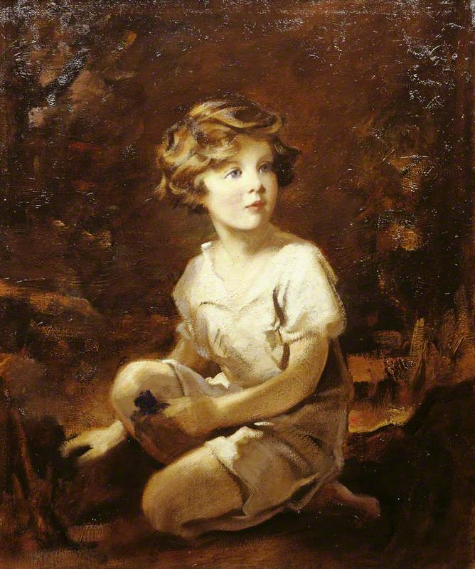 Lady Mairi Stewart (1921–2009), Later Lady Mairi Bury, Aged Four, Kneeling by a Tree