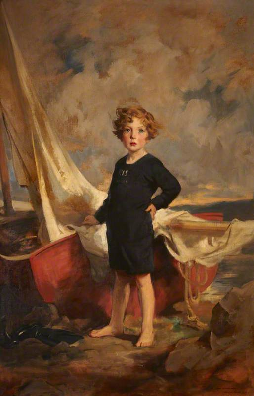 Lady Mairi Stewart (1921–2009), Later Lady Mairi Bury, as a Little Girl, with a Boat