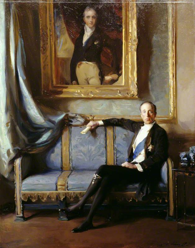 Sir Charles Stewart Henry Vane-Tempest-Stewart (1878–1949), 7th Marquess of Londonderry, KG, Seated under a Lawrence Portrait of Castlereagh