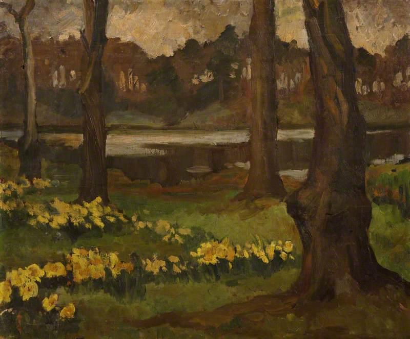Lakeside Scene with Daffodils (Mount Stewart?)