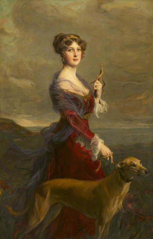 The Honourable Edith Helen Chaplin (1878–1959), Marchioness of Londonderry, DBE, with Her Favourite Greyhound, 'Fly'