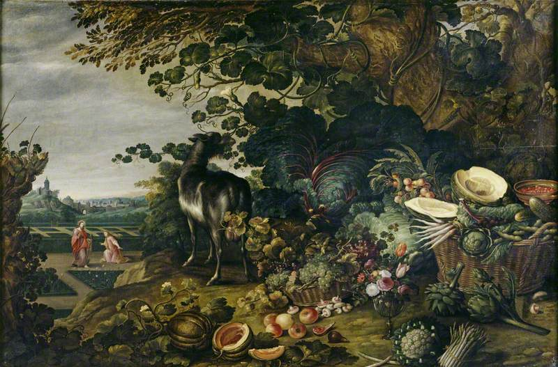An Extensive Landscape with Exotic Flowers, Fruit and Vegetables and a 'Noli me Tangere' in the Garden Beyond