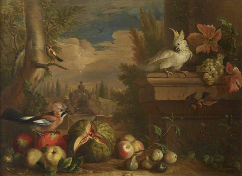 Birds and Fruit in a Landscape with a Fountain in the Background