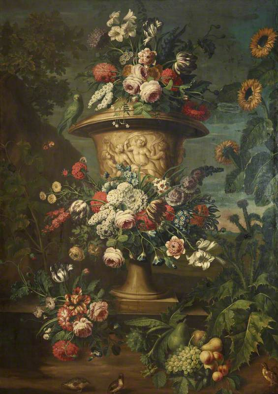 An Urn Filled and Garlanded with Summer Flowers