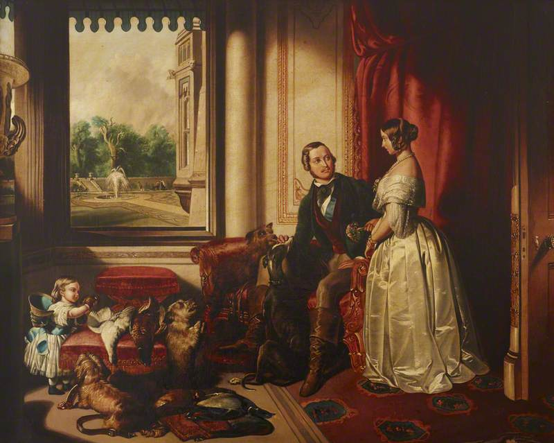'Windsor Castle in Modern Times': Queen Victoria and Prince Albert, with His Favourite Greyhound, 'Eos', and Terrier, 'Dandit', and Victoria, the Princess Royal