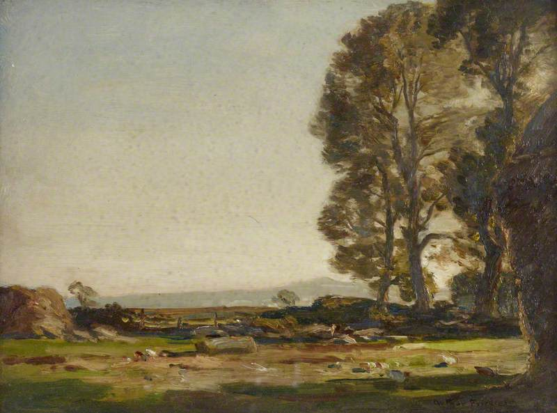 Flat Landscape with Trees and a Haystack