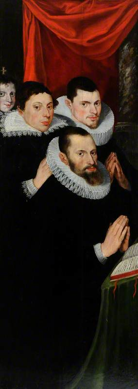 Part of a Diptych: Four Donor Figures of Men, Dressed in Black with White Ruffs, Praying