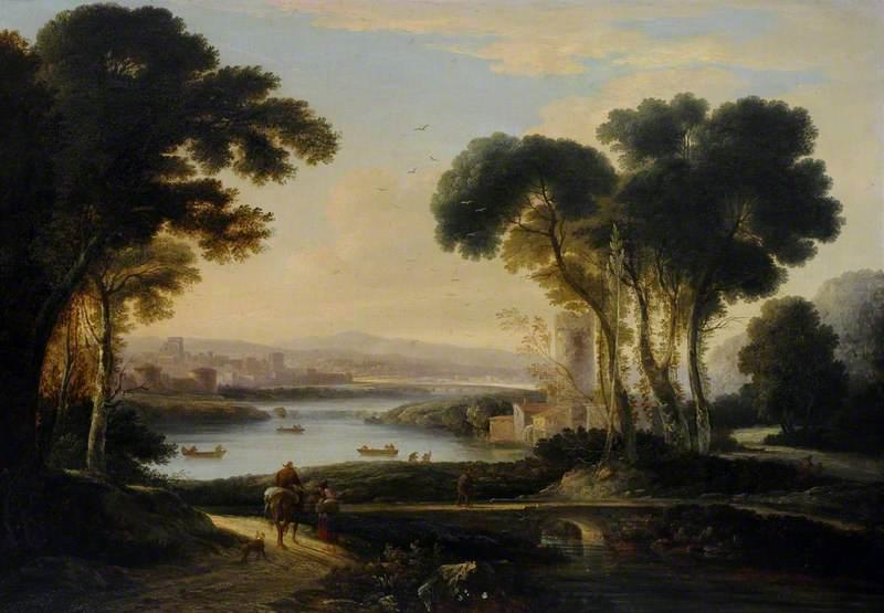 A Romantic River Landscape with Ships