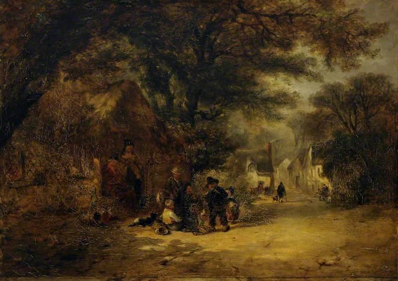 Children Gathered outside a Village Cottage