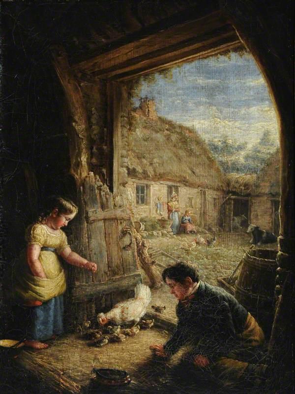Two Children Feeding Chickens