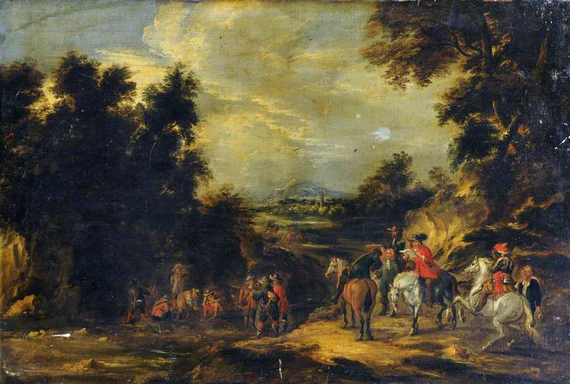 Cavaliers Halting on a Road in a Landscape
