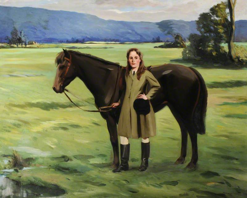 A Girl Holding a Brown Pony in a Field
