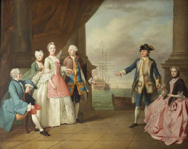 The Honourable Mrs Constantine Phipps (1722–1780), Being Led to Greet Her Brother, Captain The Honourable Augustus Hervey (1724–1779), 3rd Earl of Bristol