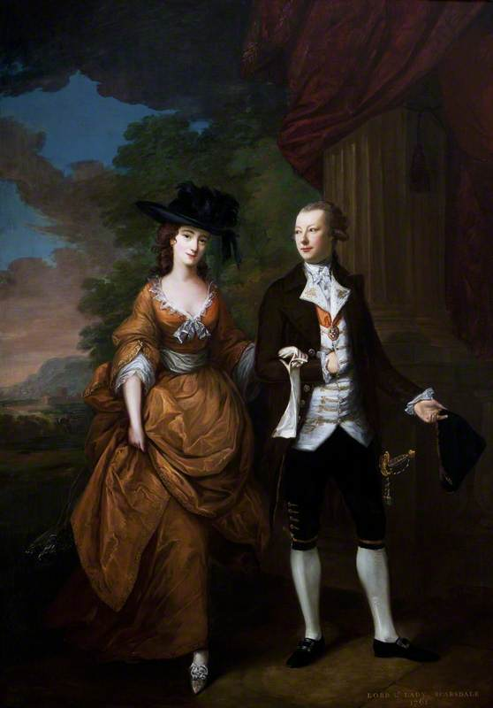 Nathaniel Curzon (1726–1804), 1st Baron Scarsdale, and His Wife Lady Caroline Colyear (1733–1812), Lady Scarsdale, Walking in the Grounds at Kedleston