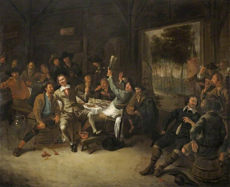 Peasants Feasting in a Barn