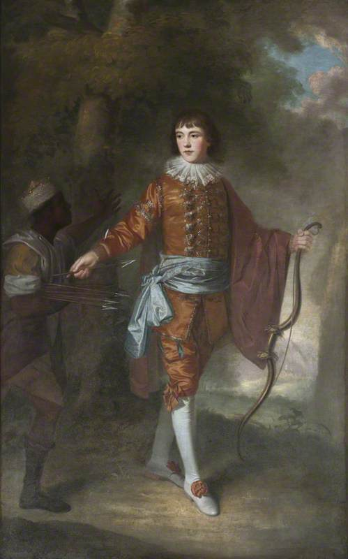 John Delaval (1756–1775), as an Archer, with a Black Page, in a Landscape Setting