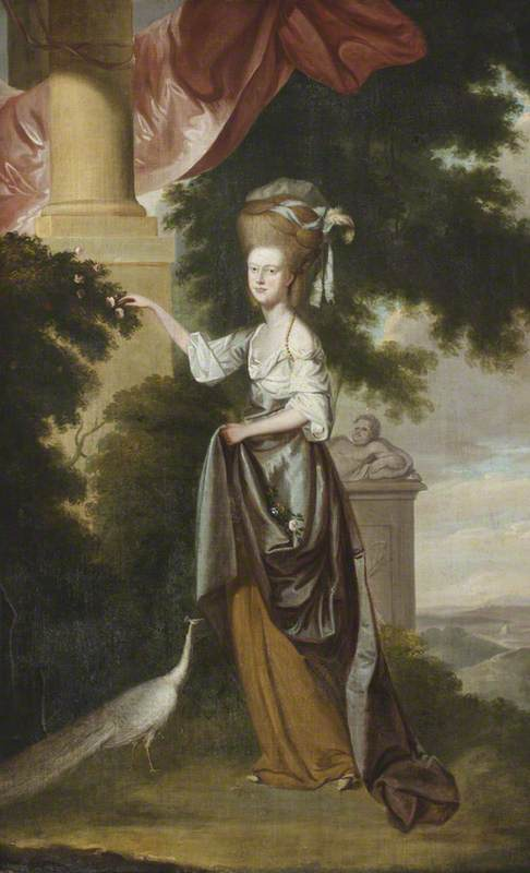 Sarah Delaval (1763–1800), Countess of Tyrconnel, with a White Peahen, in a Landscape