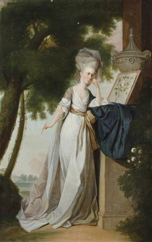 Frances Delaval (1759–1839), the Honourable Mrs Fenton Cawthorne, with a Watercolour of a Rose, in a Landscape