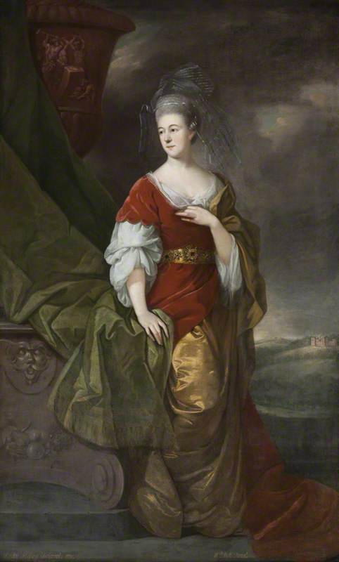 Susanna Robinson (1730–1783), Lady Delaval, as Venus, beside an Urn on a Pedestal, in a Landscape Setting