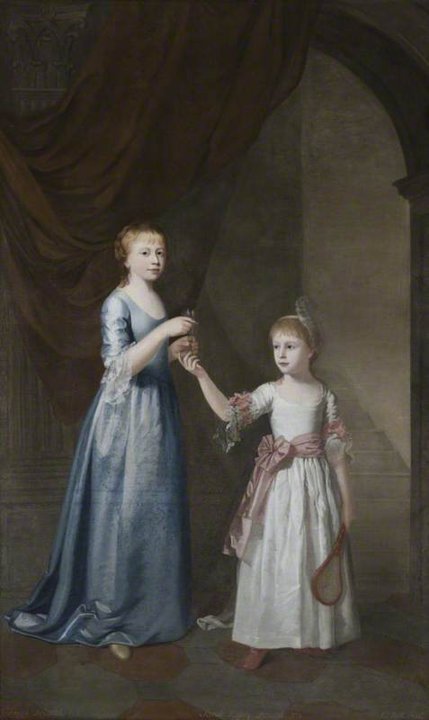 Frances Delaval (1759–1839), Later Mrs Fenton, with Her Sister, Sarah Delaval (1763–1800), Later Countess of Tyrconnel, with a Shuttlecock and Battledore, in an Interior