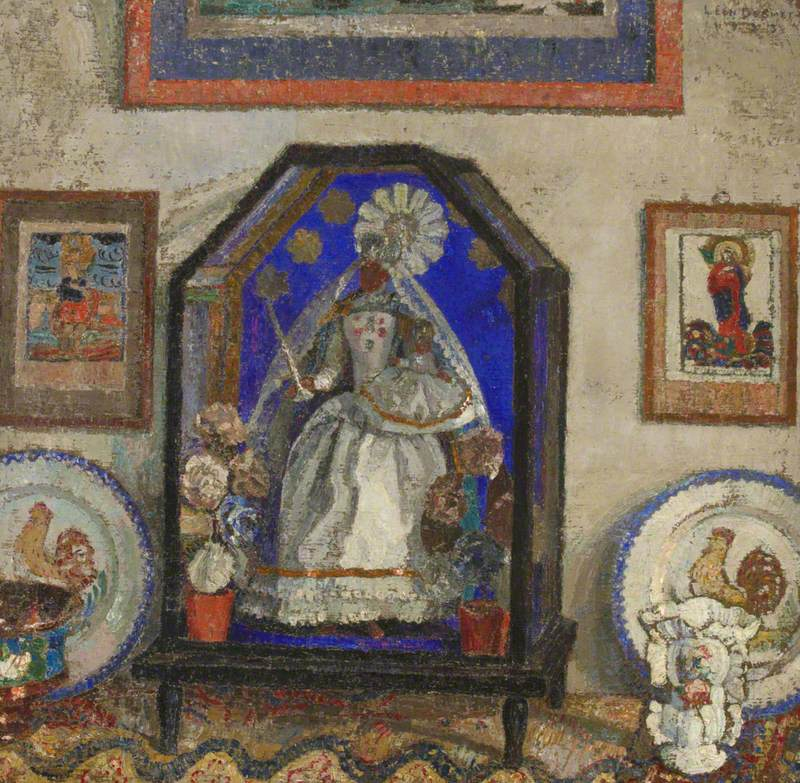 Still Life with an Image of the Madonna in a Glass Case, Faience Plates, and Popular Religious Coloured Prints