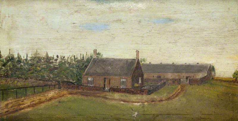 Rural Scene with Farm and Barns