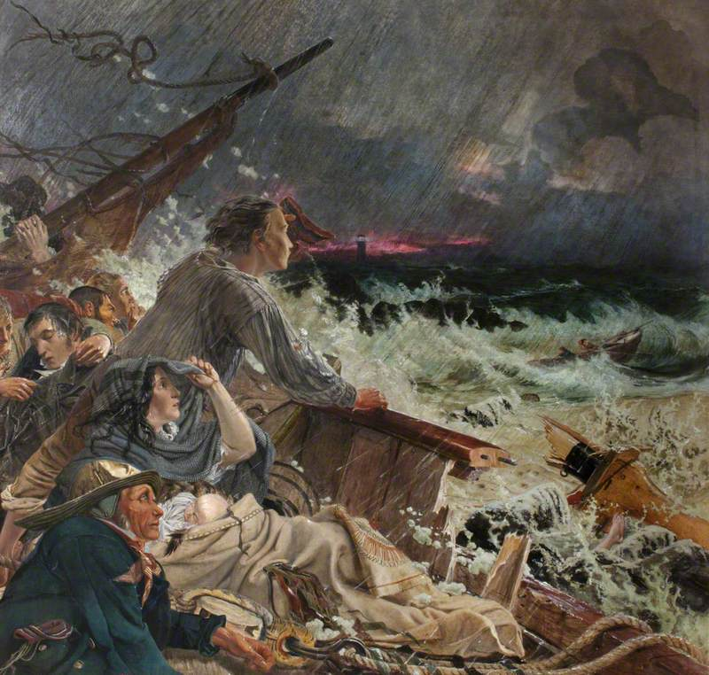 Grace Darling (1815–1842), and Her Father William Darling (d.1865), Save the Survivors from the Wreck of the Steamer 'Forfarshire' on the Farne Rocks, 7 September 1838