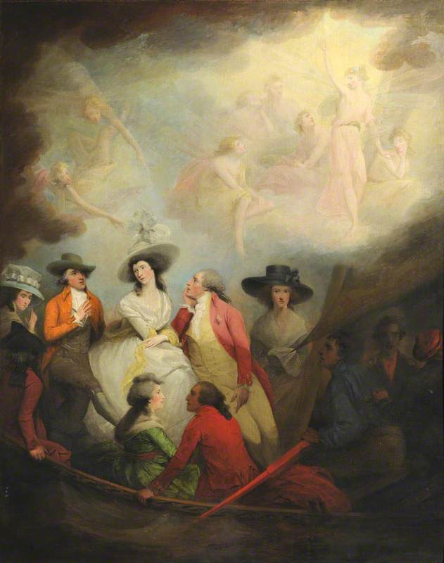 Allegorical Scene of the Reconciliation of the Prince of Wales (1762–1830), Later George IV, with Mrs Maria Anne Fitzherbert, née Smythe (1756–1837), Accompanied by Richard Brinsley Sheridan (1751–1816); Elizabeth Linley (1754–1792), Mrs Sheridan; Jacob Pleydell Bouverie (1749–1828), 2nd Earl of Radnor; and Elizabeth Stephens (1764–1833), Mrs William Hallett