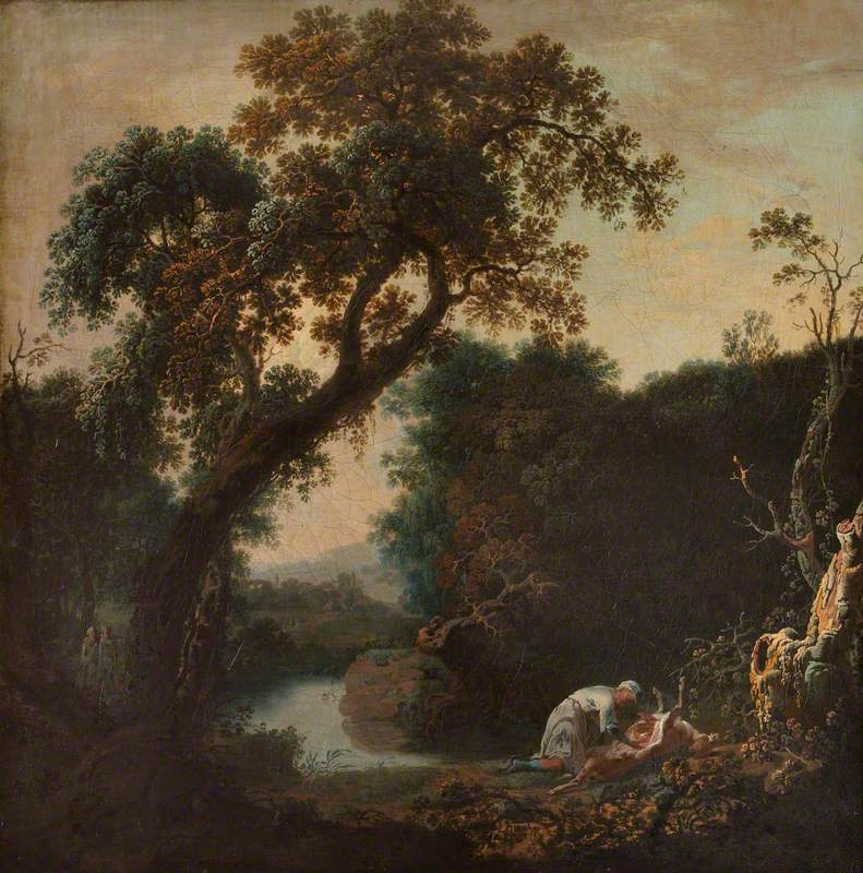 A River Landscape, with a Man Observed Gralloching a Deer