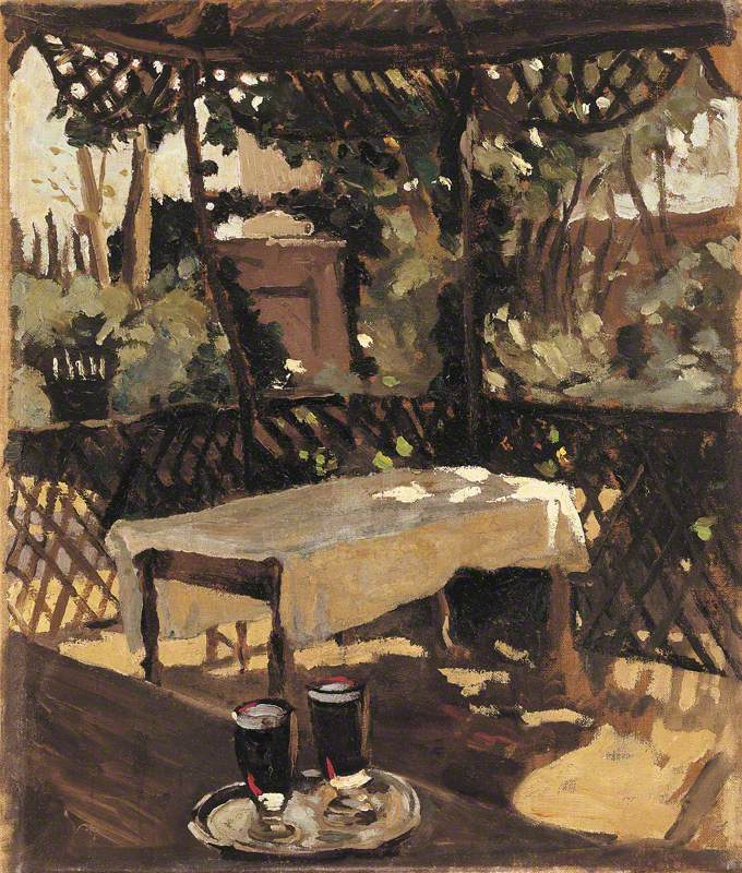 Two Glasses on a Tray on a Verandah